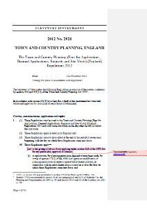 """This is an example screenshot for the above document, which provides a consolidated version of """"The Town and Country Planning (Fees for Applications, Deemed Applications, Requests and Site Visits) (England) Regulations 2012"""" (i.e. the """"Fees Regulations 2012"""")."""