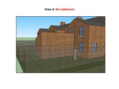 This is an example screenshot for the above document, which illustrates the differences on terrace houses between 3m extensions (current limit) versus 6m extensions (proposed limit).